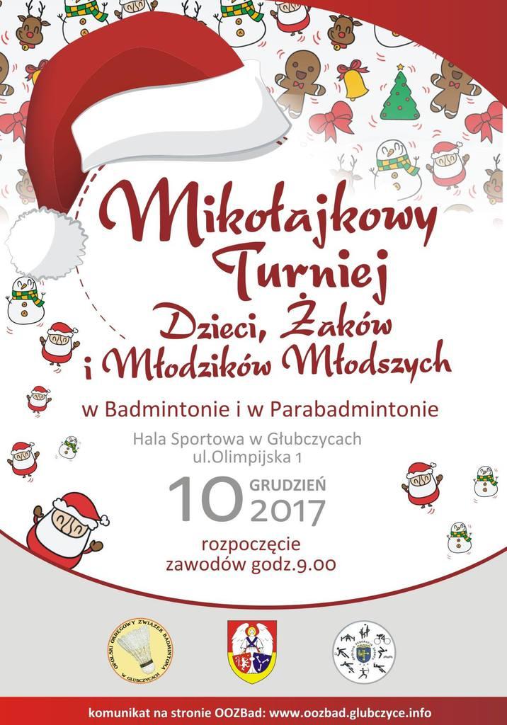 Mikołajkowy Turniej Badmintona 2017 plakat.jpeg