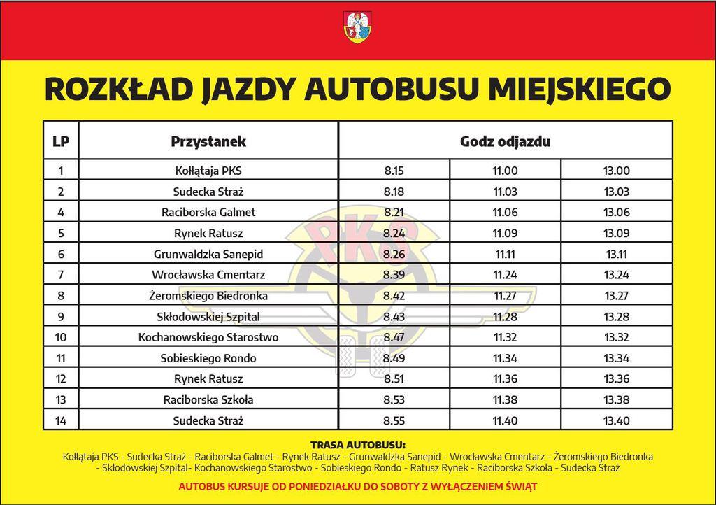 Rozkład jazdy autobusu Miejskiego1