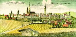 / Panorama Głubczyc wg rysunku F.B.Wernera, okolo roku 1737/